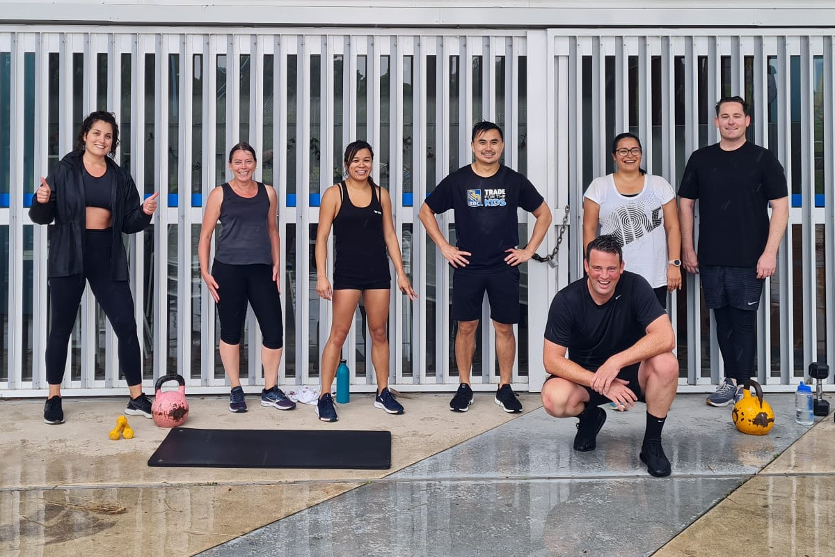 group fitness workout smiling