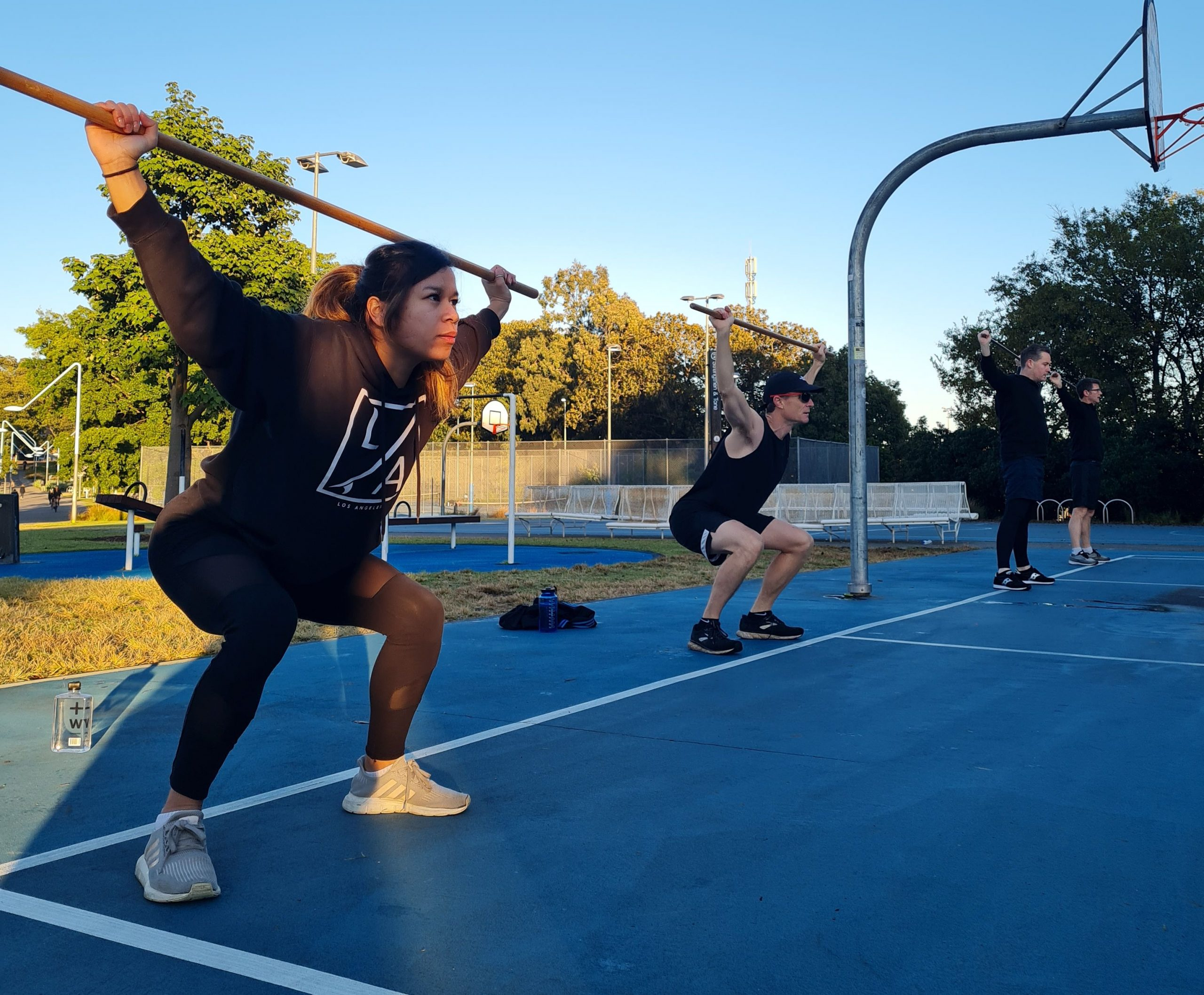 stretching outdoor fitness class